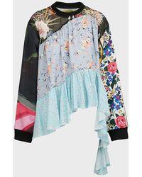 Marques'Almeida Ribbed Floral Satin Shirt - Multicolour