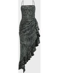 Rasario Draped Leopard-print Chiffon Dress - Black