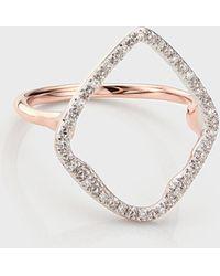 Monica Vinader Riva Hoop 18k Rose Gold Cocktail Diamond Ring - Metallic
