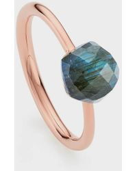Monica Vinader Labradorite And 18k Rose Gold Vermeil Nura Mini Nugget Stacking Ring - Multicolour