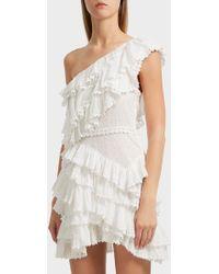 Isabel Marant - Zeller One-shoulder Broderie Anglaise Cotton Dress - Lyst