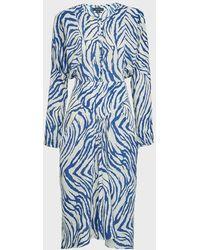 Isabel Marant Ibelky Zebra-print Silk-blend Dress - Blue