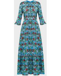 Mary Katrantzou Millias Floral Silk-blend Gown - Blue