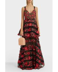 Marchesa notte - Floral Embroidered Tiered Gown - Lyst