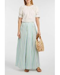 Thierry Colson Silvana Striped Silk Skirt - Blue