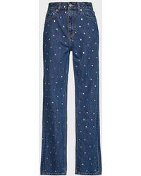 Ganni Stud-detailed High-waist Jeans - Blue