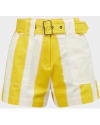 10 Crosby Derek Lam Monterey Striped Short - Yellow