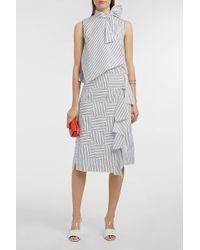 Victoria, Victoria Beckham | Woven Striped Cotton Skirt | Lyst