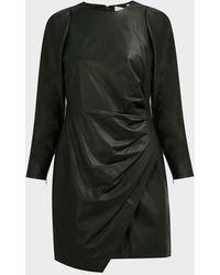 A.L.C. Lana Draped Leather Mini Dress - Black