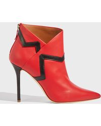 Malone Souliers X Emanuel Ungaro Amelie Two-tone Leather Ankle Boots - Red