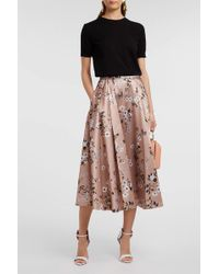 Rochas Floral-print Satin-twill Skirt - Multicolour