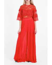 Elie Saab Pleated Culottes - Red