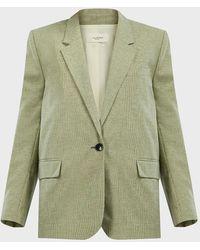Étoile Isabel Marant Verix Plaid Cotton-linen Blazer - Green