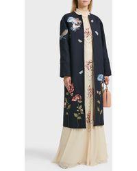 Vilshenko Laura Embroidered Coat, Size Uk10, Women, Navy - Black