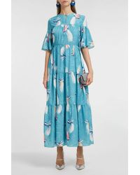 Borgo De Nor Serena Printed Maxi Dress - Blue
