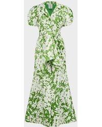 Rosie Assoulin Printed Puff-sleeve Maxi Dress - Green