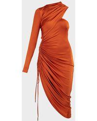 Monse Asymmetric Drawstring Satin Jersey Dress - Orange