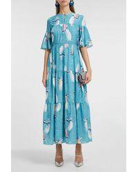 Borgo De Nor Serena Printed Maxi Dress - Blue