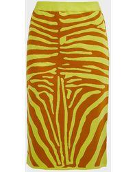 Marques'Almeida Animal-print Jacquard Tube Skirt - Yellow