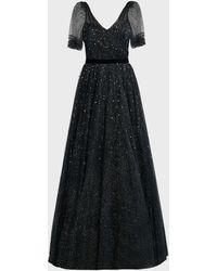 Jenny Packham Lula Crystal Tulle Gown - Black