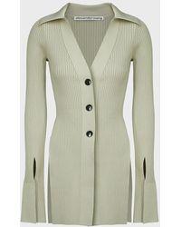 Alexander Wang Rib-knit Split Hem Cardigan - Green