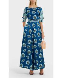 Peter Pilotto Floral-print Silk Trousers - Blue