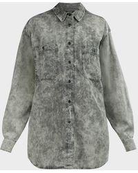 Étoile Isabel Marant Lynton Tie-dye Denim Shirt - Gray
