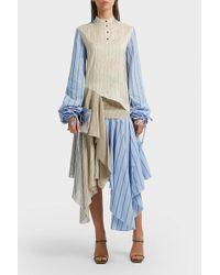 JW Anderson - Asymmetric Striped Silk Skirt - Lyst