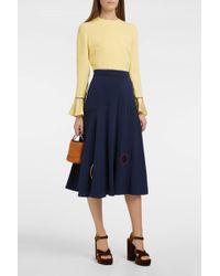 ROKSANDA Carson Satin-panelled Silk-crepe Skirt - Blue