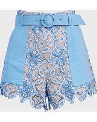 Jonathan Simkhai Samantha Lace-panelled Shorts - Blue
