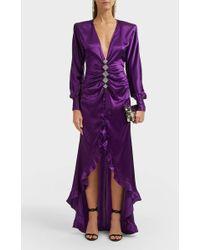 Alessandra Rich Silk Ruffled High-low Gown - Purple