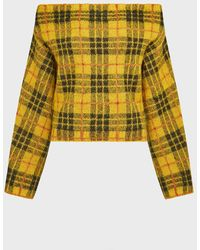 Monse Plaid Off-the-shoulder Jumper - Yellow