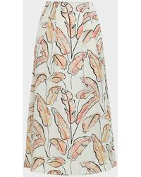 Roland Mouret Badby Palm Leaf-print Midi Skirt - Multicolor