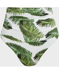 Melissa Odabash Caribe High-waist Palm Tree Bikini Bottoms - Green