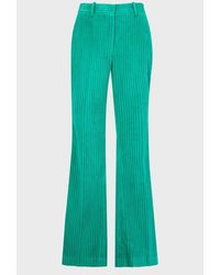 Victoria Beckham High-waist Corduroy-velvet Pants - Green