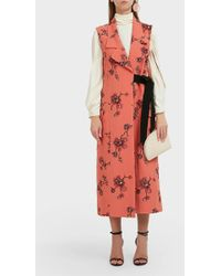 Erdem Floral-embroidered Crepe Wrap-over Coat - Multicolour
