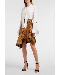 Peter Pilotto Asymmetric Metallic Jacquard Skirt - Brown