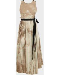 ROKSANDA Calixa Asymmetric Pleated Printed Poplin Dress - Natural