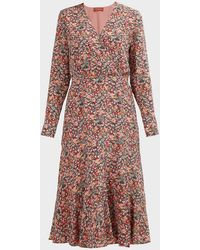 Altuzarra Martha Floral V-neck Silk Dress - Pink