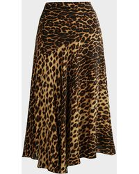 A.L.C. Lev Animal-print Midi Skirt - Brown