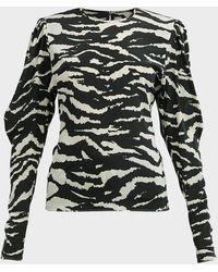Isabel Marant Favallia Zebra-print Silk-blend Top - Multicolour
