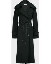 Victoria Beckham Belted Virgin Wool-blend Coat - Black