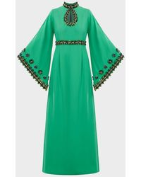 Andrew Gn Bead-embellished Crepe Gown - Green
