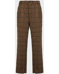 Nanushka Tom Checked Wool-blend Pants - Brown