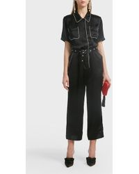 Adam Selman Pyjama Silk Jumpsuit - Black