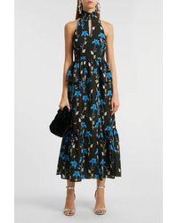 Borgo De Nor Jasmine Printed Crepe De Chine Midi Dress - Blue