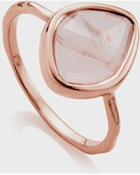 Monica Vinader Siren Quartz-gemstone 18ct Rose-gold And Silver Small Ring - Pink