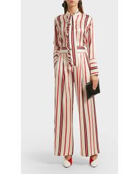 Maggie Marilyn Love Unconditionally Striped Silk Wide-leg Pants - Pink