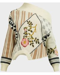 Monse Upside Down Floral Knit Sweater - Natural