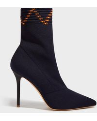 Malone Souliers Mariah Stretch-knit Sock Boots - Blue